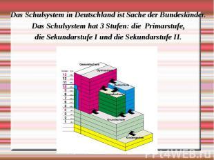 Das Schulsystem in Deutschland ist Sache der Bundesländer. Das Schulsystem in De
