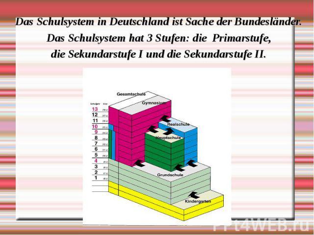 Das Schulsystem in Deutschland ist Sache der Bundesländer. Das Schulsystem in Deutschland ist Sache der Bundesländer. Das Schulsystem hat 3 Stufen: die Primarstufe, die Sekundarstufe I und die Sekundarstufe II.