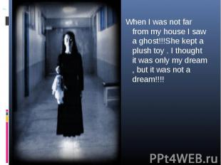 When I was not far from my house I saw a ghost!!!She kept a plush toy . I though