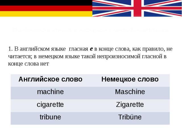 Особенности чтения в немецком и английском языках 1. В английском языке гласная е в конце слова, как правило, не читается; в немецком языке такой непроизносимой гласной в конце слова нет