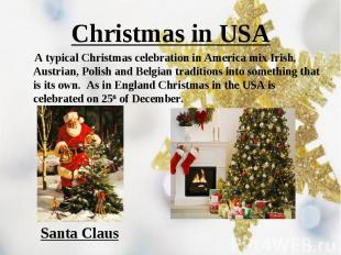 A typical Christmas celebration in America mix Irish, Austrian, Polish and Belgi