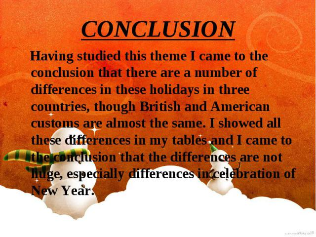 Having studied this theme I came to the conclusion that there are a number of differences in these holidays in three countries, though British and American customs are almost the same. I showed all these differences in my tables and I came to the co…