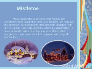 Mistletoe Many people like to decorate their houses with evergreens. Best loved