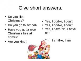 Give short answers. Do you like Christmas? Do you go to school? Have you got a n
