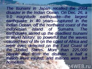 The tsunami in Japan recalled the 2004 disaster in the Indian Ocean. On Dec. 26,