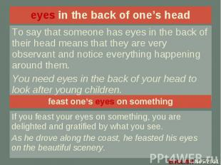 eyes in the back of one's head eyes in the back of one's head