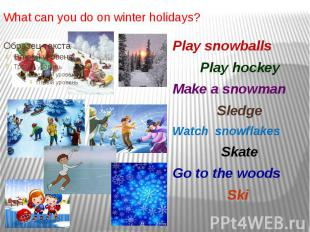 What can you do on winter holidays? Play snowballs Play hockey Make a snowman Sl