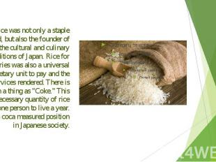 Rice was not only a staple food, but also the founder of the cultural and culina