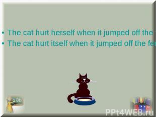 The cat hurt herself when it jumped off the fence. The cat hurt herself when it