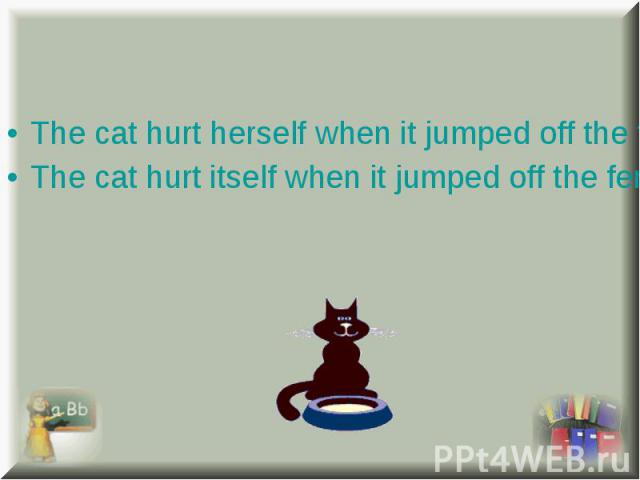 The cat hurt herself when it jumped off the fence. The cat hurt herself when it jumped off the fence. The cat hurt itself when it jumped off the fence.