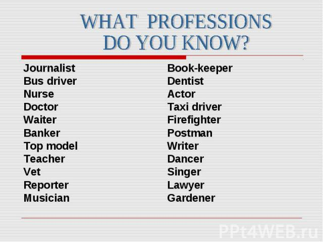 Journalist Journalist Bus driver Nurse Doctor Waiter Banker Top model Teacher Vet Reporter Musician