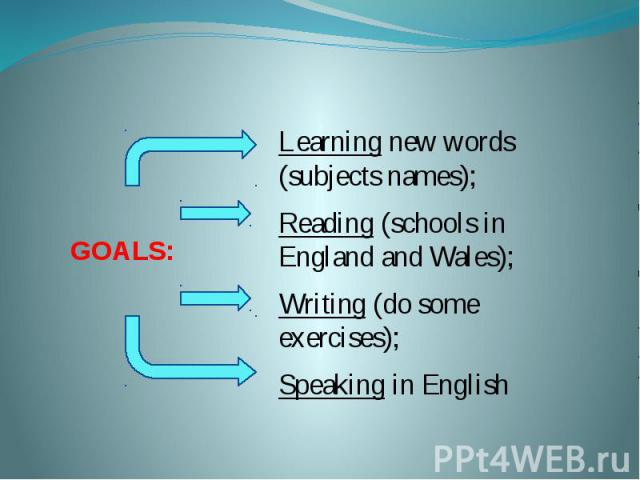 GOALS: Learning new words (subjects names); Reading (schools in England and Wales); Writing (do some exercises); Speaking in English