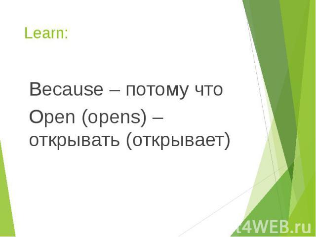Learn: Because – потому что Open (opens) – открывать (открывает)