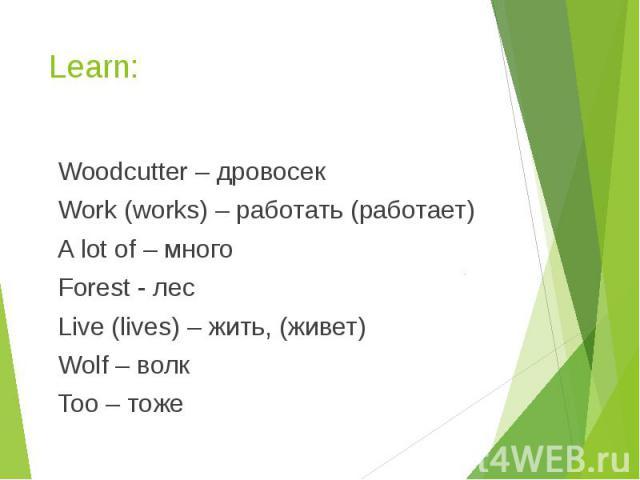 Learn: Woodcutter – дровосек Work (works) – работать (работает) A lot of – много Forest - лес Live (lives) – жить, (живет) Wolf – волк Too – тоже