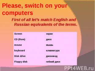 First of all let's match English and Russian equivalents of the terms. First of