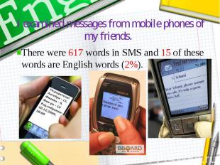 I examined messages from mobile phones of my friends. There were 617 words in SM