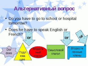 Альтернативный вопрос Do you have to go to school or hospital tomorrow? Does he