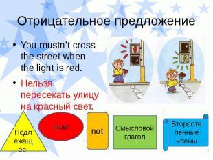 Отрицательное предложение You mustn't cross the street when the light is red. Не