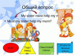 Общий вопрос My sister must help my mum. Must my sister help my mum?