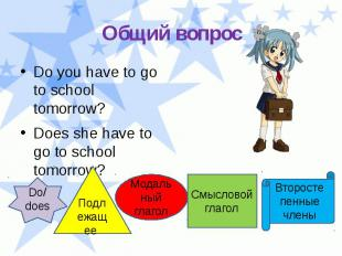 Общий вопрос Do you have to go to school tomorrow? Does she have to go to school