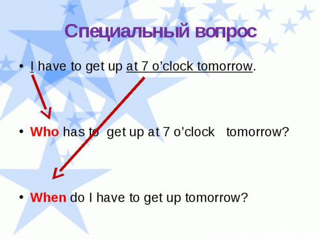 Специальный вопрос I have to get up at 7 o'clock tomorrow. Who has to get up at 7 o'clock tomorrow? When do I have to get up tomorrow?