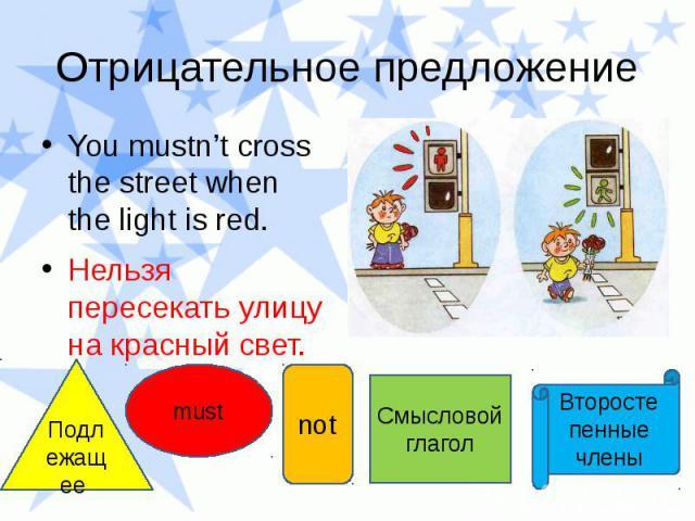 Отрицательное предложение You mustn't cross the street when the light is red. Нельзя пересекать улицу на красный свет.