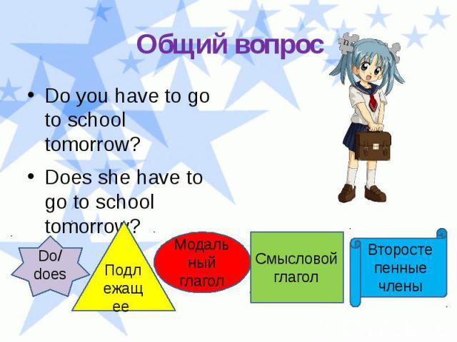 Общий вопрос Do you have to go to school tomorrow? Does she have to go to school tomorrow?