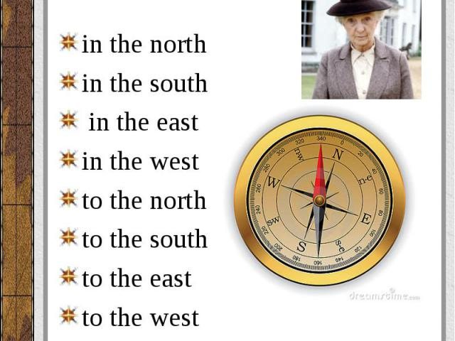in the north in the north in the south in the east in the west to the north to the south to the east to the west
