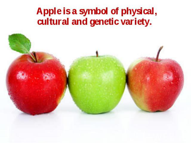 Apple is a symbol of physical, cultural and genetic variety. Apple is a symbol of physical, cultural and genetic variety.
