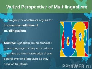 Some group of academics argues for the maximal definition of multilingualism. So