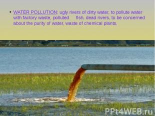 WATER POLLUTION: ugly rivers of dirty water, to pollute water with factory waste