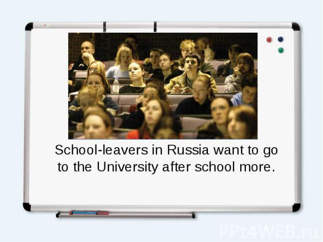 School-leavers in Russia want to go to the University after school more.