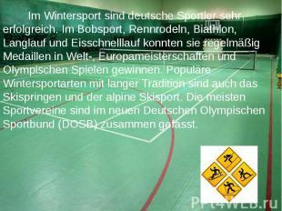 Im Wintersport sind deutsche Sportler sehr erfolgreich. Im Bobsport, Rennrodeln,