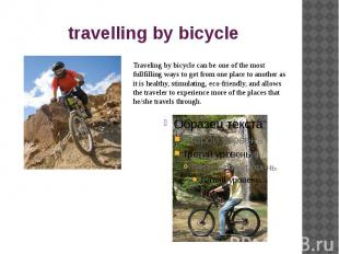 travelling by bicycle
