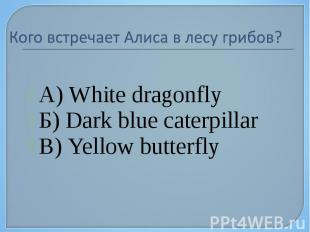 А) White dragonfly А) White dragonfly Б) Dark blue caterpillar В) Yellow butterf