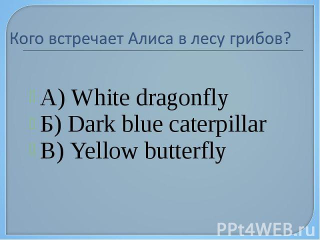 А) White dragonfly А) White dragonfly Б) Dark blue caterpillar В) Yellow butterfly