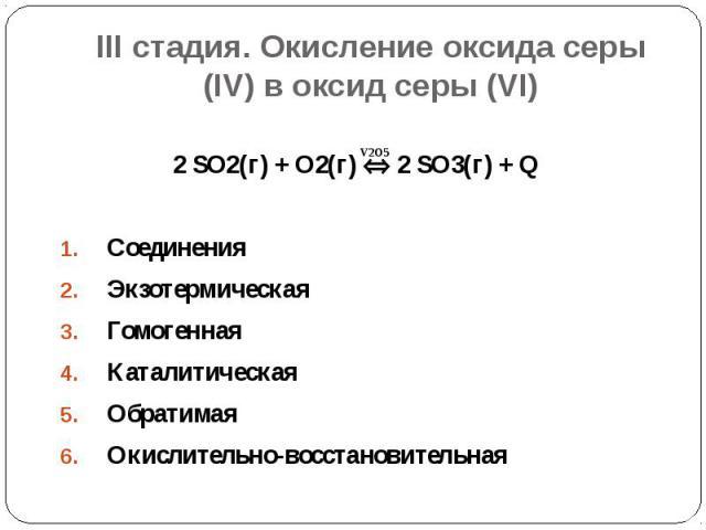 III стадия. Окисление оксида серы (IV) в оксид серы (VI) 2 SO2(г) + O2(г) 2 SO3(г) + Q  Соединения Экзотермическая Гомогенная Каталитическая Обратимая Окислительно-восстановительная