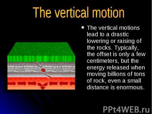 The vertical motions lead to a drastic lowering or raising of the rocks. Typical