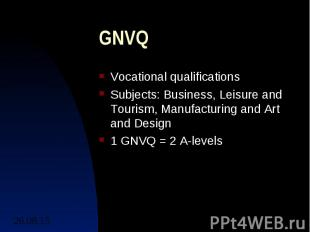 GNVQ Vocational qualifications Subjects: Business, Leisure and Tourism, Manufact