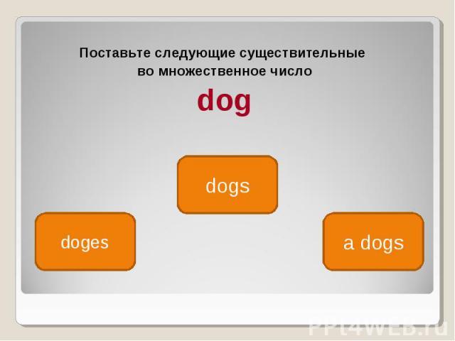Поставьте следующие существительные Поставьте следующие существительные во множественное число dog