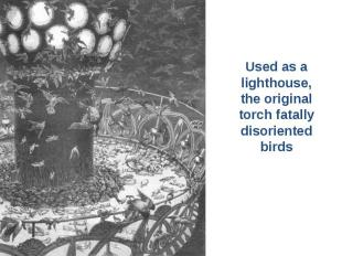 Used as a Used as a lighthouse, the original torch fatally disoriented birds