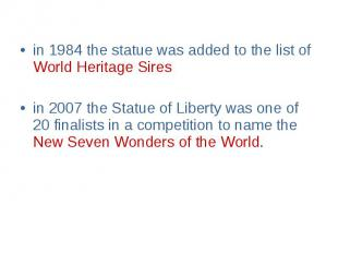 in 1984 the statue was added to the list of World Heritage Sires in 1984 the sta
