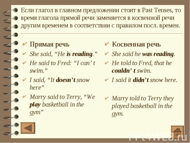 "Прямая речь Прямая речь She said, ""He is reading."" He said to Fred: ""I can' t swim."" I said, ""It doesn't snow here"" Marry said to Terry, ""We play basketball in the gym"""