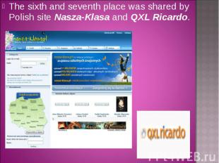 The sixth and seventh place was shared by Polish site Nasza-Klasa and QXL Ricard