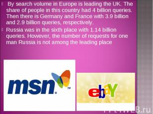 By search volume in Europe is leading the UK. The share of people in this countr