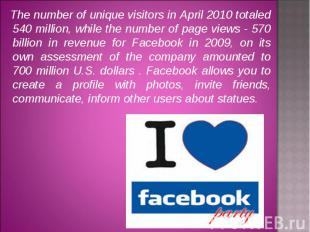 The number of unique visitors in April 2010 totaled 540 million, while the numbe