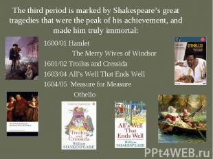 1600/01 Hamlet 1600/01 Hamlet The Merry Wives of Windsor 1601/02 Troilus and Cre