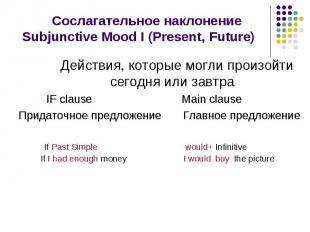 Сослагательное наклонение Subjunctive Mood I (Present, Future) Действия, которые
