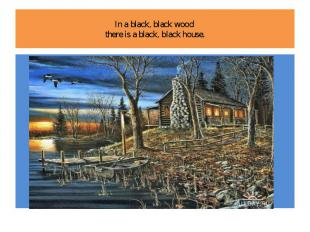 In a black, black wood there is a black, black house.