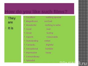 How do you like such films? They are It is